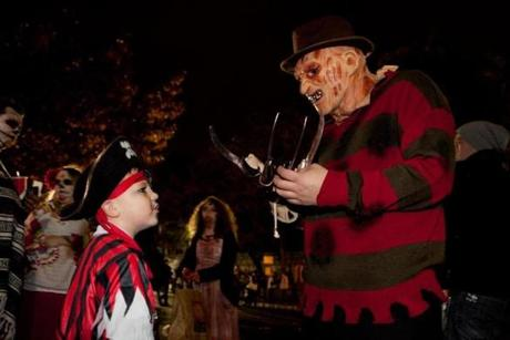 People took to the streets of Salem for Halloween.