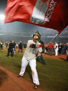 Boston's Jonny Gomes waved a flag.