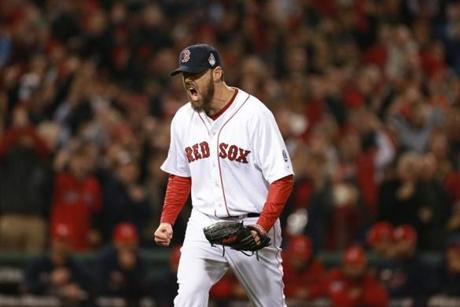 Red Sox pitcher John Lackey reacted after getting an out in the second inning.