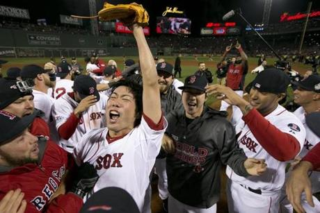 Red Sox closer Koji Uehara celebrated with teammates after Game 6 of the World Series.