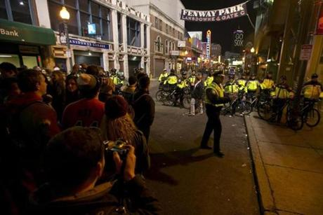 Anticipating rowdiness, police started to clear the crowds from the Fenway Park area during the 5th inning.