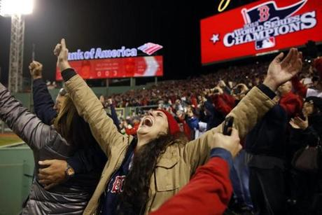 Julia Hill, 28, of Providence, R.I., threw her hands up as the Sox won.