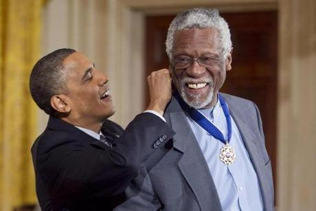 February 15, 2011:  Bill Russell was awarded the Presidential Medal of Freedom from Barack Obama at the White House in Washington, D.C.
