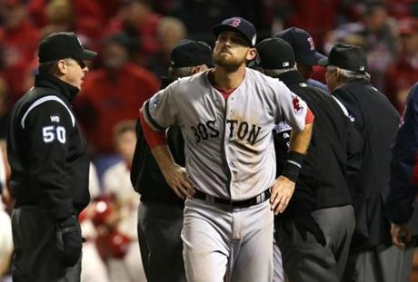 "The play, which marked the first time a postseason game had ever ended on an obstruction call,  left a bitter taste with the Red Sox. ""I don't care what anybody says, that's no way for a World Series game to end,"" Ortiz said."