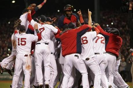 The Red Sox completed an improbable worst-to-first ride by winning the 2013 World Series at Fenway Park on Oct. 30.