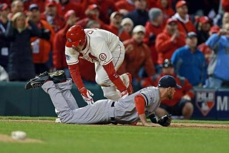 The Cardinals claimed Game 3 after a controversial obstruction call ended the game in the bottom of the ninth. Red Sox third baseman Will Middlebrooks was called for obstruction after tangling with Allen Craig on this play.