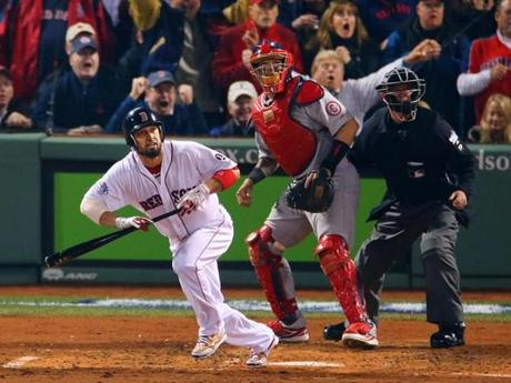 Shane Victorino put the Red Sox on the board with a three-run double in the third inning.