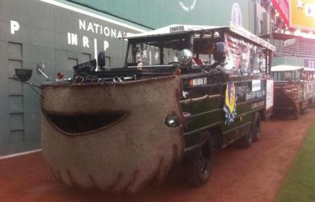 The boats paid homage to the Red Sox players' iconic beards.
