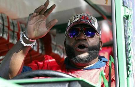 David Ortiz took a turn driving a duck boat during the parade.