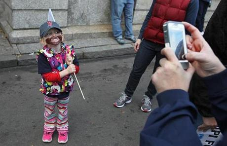 Three-year-old Megan Bettez of Gardner showed off her Red Sox spirit on Tremont Street.