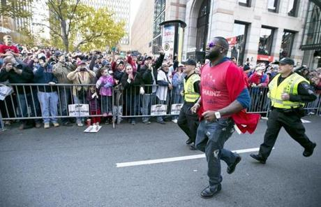 David Ortiz jogged down Boylston Street towards the Boston Marathon finish line.