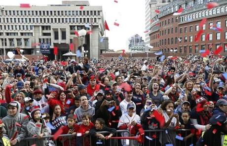 Fans cheered in front of City Hall Plaza.