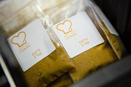 Spice packs that typically come in a delivery from Just Add Cooking.