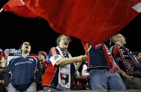 New England Revolution fans cheered before the MLS East Conference semifinal-round soccer game against the Sporting Kansas City in Foxborough on Saturday.