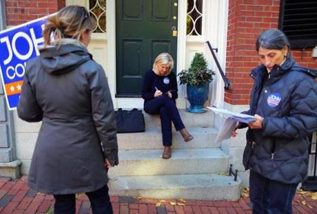 Connolly campaign volunteers canvassed on Beacon Hill.