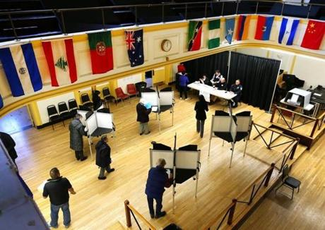 Voters at the Franklin Institute polling place on East Berkley Street in the South End.