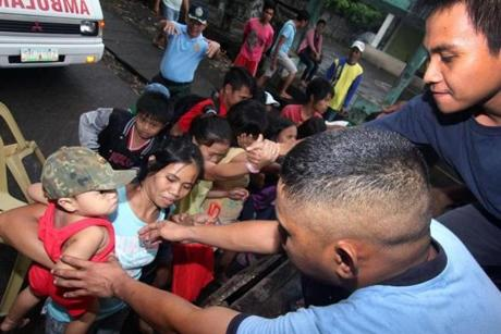 Residents of Legazpi city in Albay province, south of Manila, were evacuated ahead of a massive typhoon.