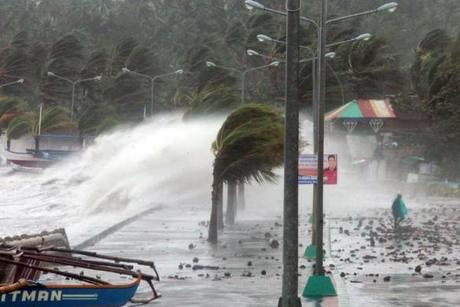 Waves pounded a sea wall amidst in Legaspi, Albay province.