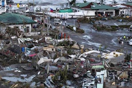 A view of the typhoon ravaged city of Tacloban on Saturday.