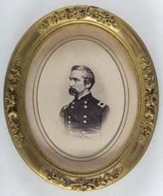 The exhibit includes a Mathew Brady portrait of Colonel Joshua Chamberlain, whose defense of Little Round Top leading the 20th Maine helped preserve the Union victory.