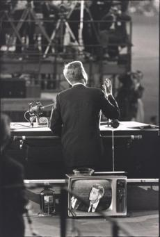 """Democratic National Convention, Los Angeles,"" 1960, by Garry Wino-grand,  shows presidential nominee John F. Kennedy during his acceptance speech."