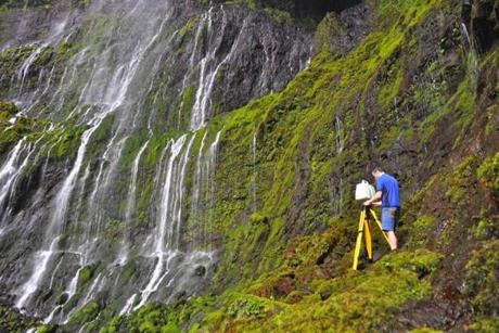 Graphics expert Luke Farrer scanned images in Waialeale Crater in Kauai, Hawaii.