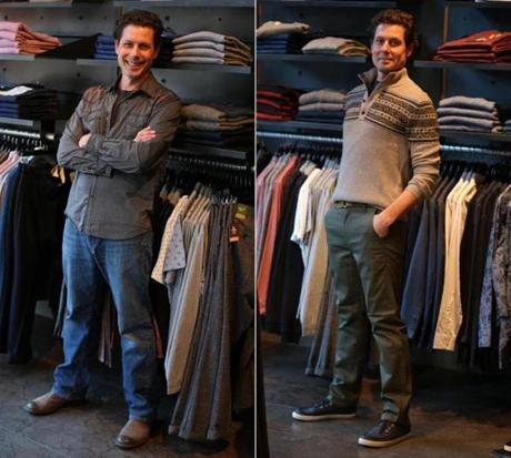 The writer in his own clothes (left) at Uniform and wearing an outfit picked out for him (right).