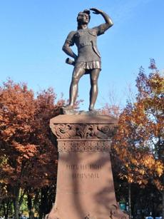A statue of Leif Erikson gazed out from Boston's Commonwealth Mall.
