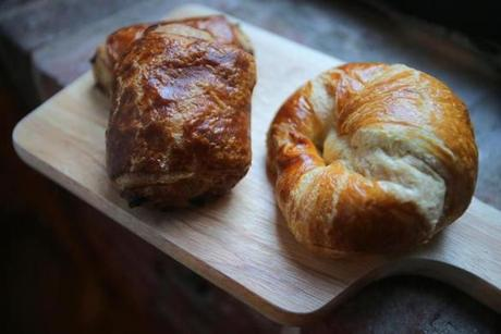 A croissant and chocolatineat Patisserie on Newbury.
