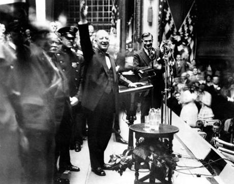 New York Governor Alfred E. Smith, nearing the close of his campaign for president, addressed supporters in a packed house at the Academy of Music in Brooklyn, N.Y., Nov. 3, 1928. Smith became the first Roman Catholic to win the Democratic nomination for president but lost to Herbert Hoover.