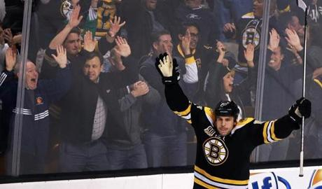 The Bruins' Milan Lucic celebrated after he scored the game-winning goal with less than 30 seconds left in overtime over the Columbus Blue Jackets at TD Garden.