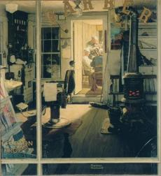 "Rockwell's interest in depicting people is seen in ""Shuffleton's Barbershop,"""