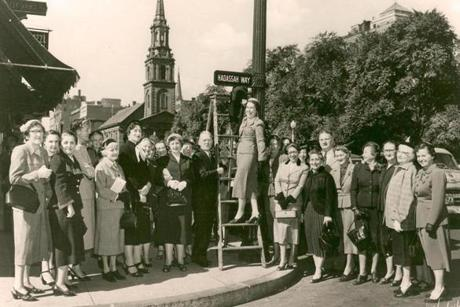 The older 1955 photo includes chapter president Rose Feinberg and Mayor John Hynes.