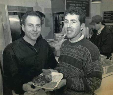 Kip Kolow and his partner Arthur Cores, here in 1994, started Boston Chicken in 1985.