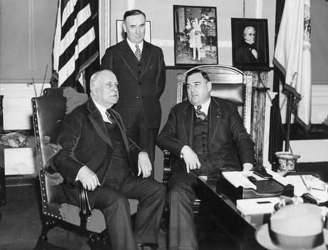 May 29, 1937: The first Irish Senator from Massachusetts, David I. Walsh, Secretary to the Governor John Mahoney (standing), and Governor Charles F. Hurley at the State House.