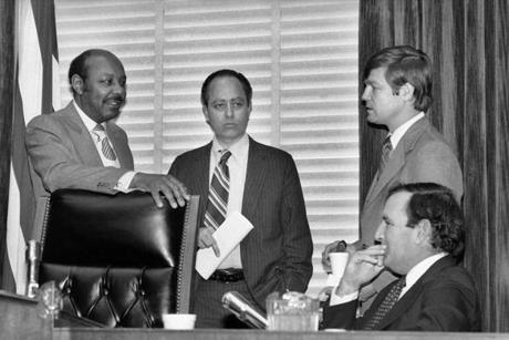 House Assassinations Committee chief counsel G. Robert Blakey (second to left) met with committee chairman Louis Stokes (left) before the panel went into a closed session in Washington, on Dec. 22, 1978, to explore new evidence of a second gunman in the assassination of President John F. Kennedy.