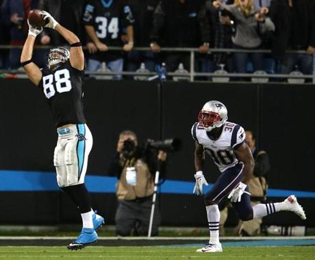 Panthers tight end Greg Olsen pulled in a long pass reception for a first down.