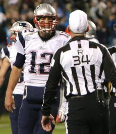 An angry Tom Brady questioned the call at the end of the game.