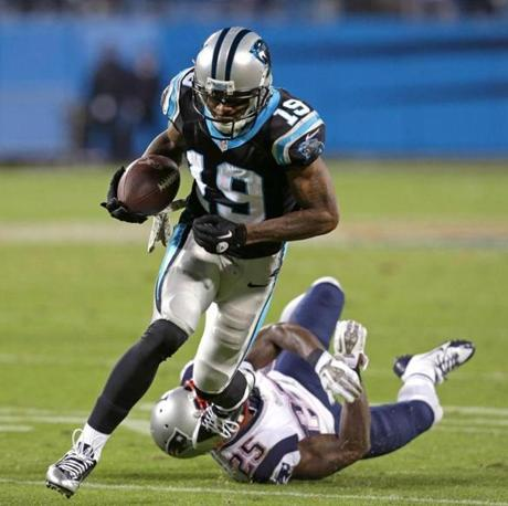 Panthers wide receiver Ted Ginn broke a tackle by cornerback Kyle Arrington and raced into the end zone for the game-winning touchdown.