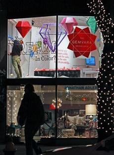 Gemvara's newly opened store on Newbury Street prepared for the season on Tuesday.