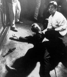 Sen. Robert Kennedy awaited medical assistance as he lay on the floor of the Ambassador hotel in Los Angeles moments after he was shot June 5, 1968.