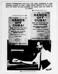 This Sept. 26, 1964, photo shows one of the exhibits contained in the Warren Commission report. The commission said the handbills in the image were samples of ones on which Lee Harvey Oswald had stamped his name and the name