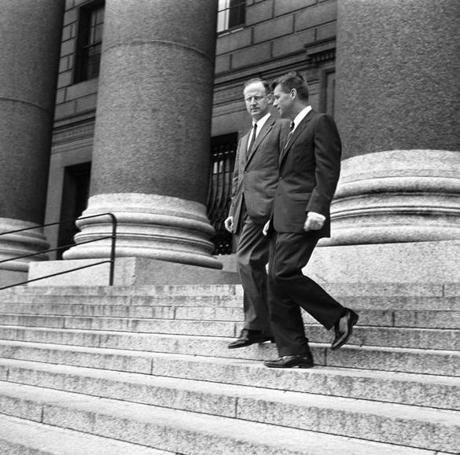 Robert M. Morgenthau, left, US Attorney for the southern district of New York, and Attorney General Robert Kennedy on the steps of the US courthouse in New York City on June 14, 1961.