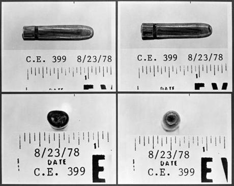 This series of June 13, 1967, photographs provided by the Warren Commission shows four sides of a bullet, found at Parkland Hospital, which was the subject of a dispute over which stretcher it had come from — Texas Governor John Connally's or President John F. Kennedy's. Tests showed it came from Lee Harvey Oswald's rifle.
