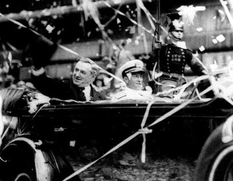 June 28, 1930: Boston Mayor James Michael Curley and Admiral Richard E. Byrd passed through a confetti shower as they paraded from South Station to Boston Common to honor Byrd and members of his Antarctic expedition, who made history by being the first explorers to visit the South Pole.