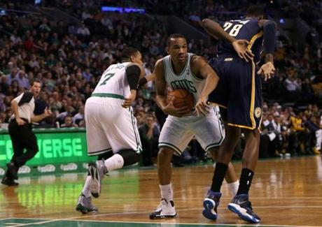 Sullinger's defensive pressure forced the Pacers' Ian Mahinmi to turn the ball over to Avery Bradley.