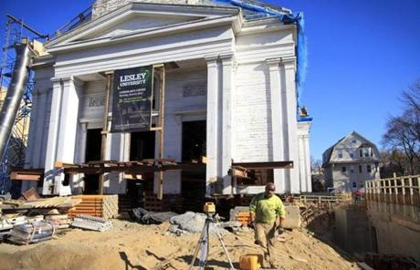 Workers prepared North Prospect Church on Massachusetts Avenue for relocation to accommodate new construction.