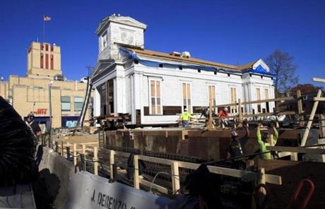 Instead of the horses used in the church's 1867 move, workers next month will use a hydraulic system to roll the church.