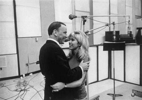 Nancy Sinatra with her father, Frank Sinatra, at their first joint recording session.