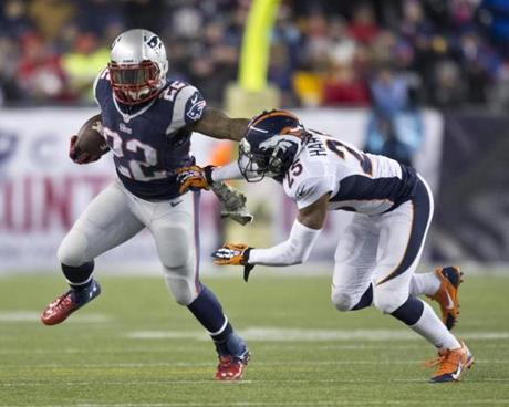 Stevan Ridley fended off Chris Harris Jr.